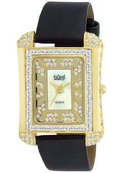 Price:$104.57 #watches Burgi BUR063YG, This Burgi ladies rectangular quartz watch is designed with beautiful baguettes on the bezel. The mother of pearl dial and crystal accents complete this timepiece.