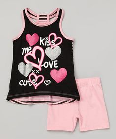 Loving this Black & Pink Heart Tank & Shorts - Infant, Toddler & Girls on #zulily! #zulilyfinds