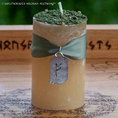 FULL TIME WORK Pillar Candle w/ Fehu Rune - Find Keep Steady Employment, Job Security, Attract New Clients, Customers, Contracts & Projects by ArtisanWitchcrafts