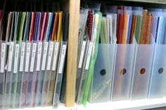 Vertical filing -- a gorgeous solution when you have shelving but no filing drawers.