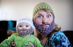 crochet-bearded-beanie-pattern-free-baby-adult by imtopsyturvy.com, via Flickr
