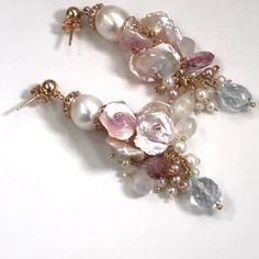 Blush keishi pearls dangle with pink topaz, blue topaz, moonstones and pearls on these pastel wedding earrings. wedding earrings, something blue, keishi pearl earrings by Doolittle Jewelry Pearl Earrings Wedding, Topaz Earrings, Bridal Earrings, Pearl Jewelry, Beaded Earrings, Earrings Handmade, Wedding Jewelry, Beaded Jewelry, Jewelery