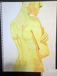 SALE Yellow Nude back drawing Original