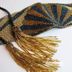 Gold Beaded Belt Cummerbund Vintage 70s 80s by Bethlesvintage, $50.00