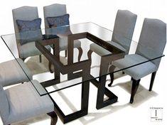 Mesa de comedor cuadrada de hierro y vidrio LISA | Mesa cuadrada