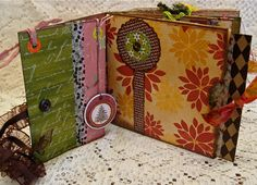 inside view of a scrumptious mixed-media brown paper bag scrapbook!!! by littlejoysstudio on etsy