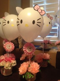 Hello kitty and like OMG! get some yourself some pawtastic adorable cat apparel! Kitty Party, Hello Kitty Theme Party, Hello Kitty Themes, Balloon Arrangements, Balloon Decorations, Cat Birthday, Birthday Parties, Decoracion Hello Kitty, Bolo Hello Kitty