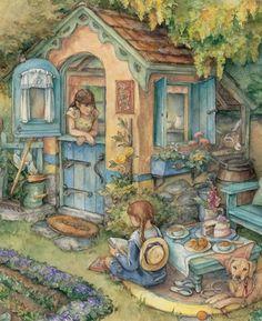 Kim Jacobs folktale, fairy tale and children's illustrations Art And Illustration, Susan Wheeler, Whimsical Art, Beautiful Paintings, Belle Photo, Cute Art, Art For Kids, Art Drawings, Art Prints