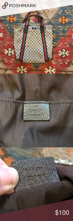 """GUCCI tote 100% authentic, purchased from Gucci in Short Hills NJ in 2013. This def shows signs of use! Please look at picture. Does have life left. Approx 14""""x17"""". Gucci Bags Totes"""