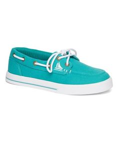 Look what I found on  zulily! Teal  amp  White Buoy Boat Shoe - 2269b724a
