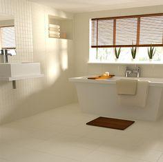 Achieve this simple, stylish bathroom look with Ardosia 'Blanco' wall and floor tiles and Ardosia 'Blanco' mosaics.