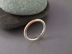 Mixed 14k Gold and Silver 2mm Round Ring by LichenAndLychee