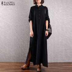 2017 ZANZEA Women Stand Collar Long Sleeve Buttons Vintage Solid Split Hem  Cotton Linen Vestido Long 8139c064ddbb