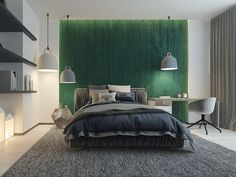Bedroom Pendant Lights: 40 Unique Lighting Fixtures That Add Ambience To Your Sleeping Space - Home Green Bedroom Walls, Green Bedroom Design, Sage Green Bedroom, Bedroom Decor, Bedroom Ideas, Light Green Rooms, Green Boys Room, Grey Wallpaper For Walls, Olive Green Bedrooms