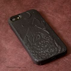 Another View of the Singing Wolf iPhone Case  http://oberondesign.com/e-reader-covers/smartphone-cases-covers/iphone-cases/leather-iphone-case-singing-wolf.html