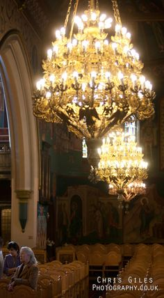 Involves all the 5 senses: many Orthodox Churches have beautiful chandeliers. During services at night, they often do wonderful things with light and shadow Orthodox Wedding, Hampstead Heath, Orthodox Christianity, St Andrews, All Nature, Orthodox Icons, Light And Shadow, Camden, Wonderful Things