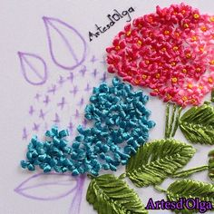 Bordado con Cintas: Hortensias In this video I show you how to embroider hydrangeas with ribbons step by step. Diy Embroidery Patterns, Hand Embroidery Videos, Embroidery Stitches Tutorial, Embroidery Flowers Pattern, Flower Embroidery Designs, Creative Embroidery, Silk Ribbon Embroidery, Crewel Embroidery, Embroidery Supplies