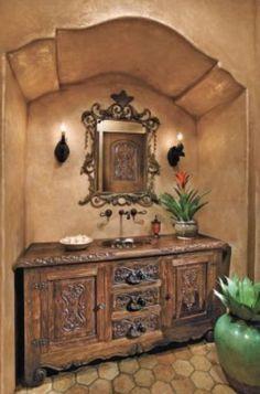 Old World, Mediterranean, Italian, Spanish & Tuscan Design & Decor Powder  Room
