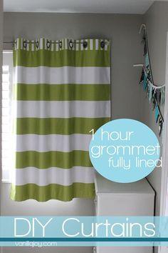 Easy DIY grommet-top, FULLY LINED curtain tutorial