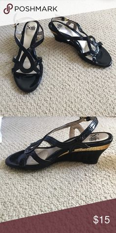 Black kitten wedges Black kitten wedges with gold accents Shoes Wedges