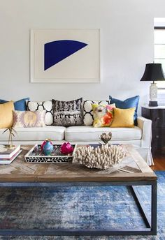 Airy + Eclectic :: Blue // Yellow // Black  White // Overdyed Rug