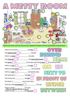 A MESSY ROOM - furniture & prepositions - English ESL Worksheets for distance learning and physical classrooms Grammar Activities, English Activities, Grammar And Vocabulary, Grammar Lessons, English Vocabulary, English Grammar, Classroom Activities, Teaching English, Daycare Curriculum
