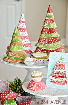 Cupcake liner Christmas Trees. Red + Lime Green + cutest idea ever!