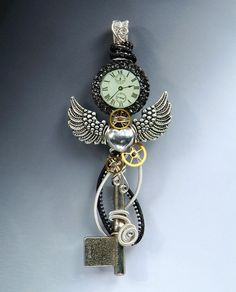 Time Flies Steampunk Skeleton Key Necklace, wire wrapped wire woven skeleton key, winged heart watch gears key necklace