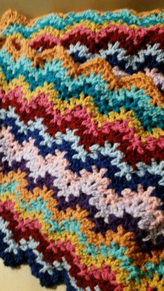 Camille's crochet v-stitch ripple blanket WIP 11/6/2015.