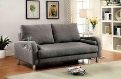 Furniture of America Raquel Adjustable Sofa/Futon with Built-In Bluetooth CM2195