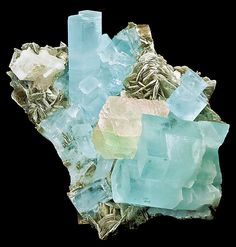 Tucson 2013 Show. Aquamarine with bi-colored Fluorite. Pakistan 20cm