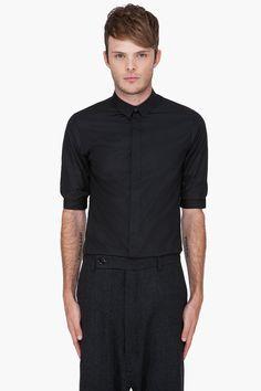 KRIS VAN ASSCHE Black Pulled-Up Sleeve Shirt