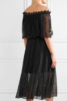 Temperley London - Leo Off-the-shoulder Embroidered Lace Midi Dress - Black - UK12