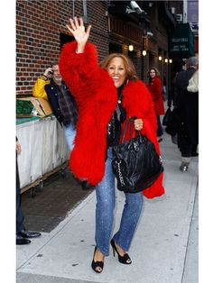 "Singer Darlene Love: ""Bye, Elmo, thanks again for letting me borrow your fur!"""