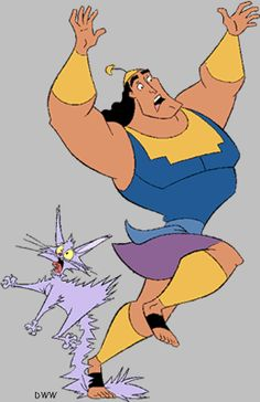 *THE CAT / YZMA & KRONK~The Emperor's New Groove - Kronk (Patrick Warburton) is Yzma's assistant, seen here stepping on her tail, after she drank the wrong potion and was turned into a kitten. Kronk makes a lot of mistakes. Halloween Birthday, Halloween Ideas, Disney Villains, Disney Movies, Cosplay Ideas, Costume Ideas, Yzma And Kronk, Patrick Warburton, Chris Williams