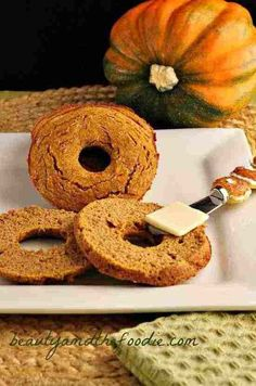 Low Carb Pumpkin Bagels. Grain free, low carb, paleo, bagels with a yummy, pumpkin flavor to spice up your Fall breakfast.These are starch free, and nut free with dairy free options.