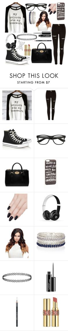 """everyday"" by pinkunicornbae ❤ liked on Polyvore featuring River Island, Converse, Mulberry, JFR, ncLA, Beats by Dr. Dre, MAC Cosmetics, Barry M, Yves Saint Laurent and Allurez"
