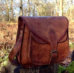 Hand Made Leather Handbag Satchel Tan Portfolio by SerguioRogetti