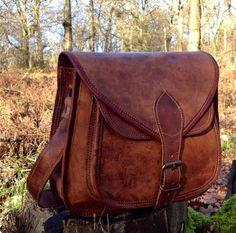 Hand Made Leather Handbag Satchel Tan Portfolio by SerguioRogetti