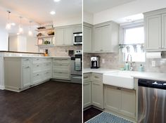Save big time on your kitchen redo by repurposing original cabinets.