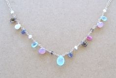 Sterling Silver Briolette Gemstone Necklace. From rayennwood manor   etsy