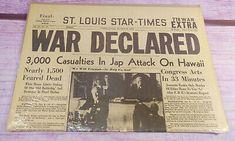 St Louis Star Times December 8 1941 WWII Newspaper War Hawaii Pearl Harbor Japan
