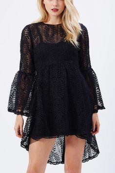 Looking for a casual dress for a fun night out, then this is the perfect piece for you! It features flare sleeve, crochet and high low hem. Pair this dress with high heels for a perfect look.