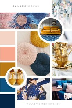 Blue, Gold, Pink Mood Board New Colour Crush series! Here's the first introductory post, I am sharing the colours used in my new branding. Check it out! Website Design, Web Design, Graphic Design, Design Ideas, Mood Board Interior, Office Interior Design, Moodboard Interior Design, Pantone Cards, Design Scandinavian