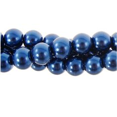 8mm Glass Pearl Bead Strand, Navy