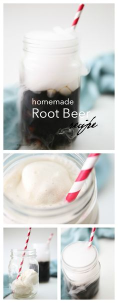 homemade-root-beer pin Make this delicious drink recipe for your halloween or Fourth of July party. This homemade root beer recipe with dry ice is easier than you might think! Dry Ice Drinks, Fun Drinks, Yummy Drinks, Yummy Food, Beverages, Tasty, Beer Recipes, Cooking Recipes, Drink Recipes