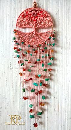 Árbol de la vida con natural rosa cuarzo Amazonita por KatrinPodra