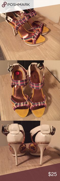 """Bakers heels Colorful 4"""" heel with colorful straps and Ivory heel. Wood trimming! Excellent condition! Bakers Shoes Heels"""