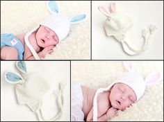 twin hat set baby bunny hats in white for newborns by NadiasPlace, $36.00