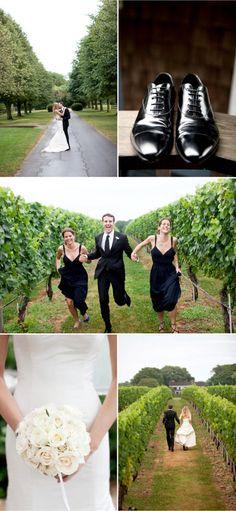 Bridesmaids' dresses and photos - running through vineyard